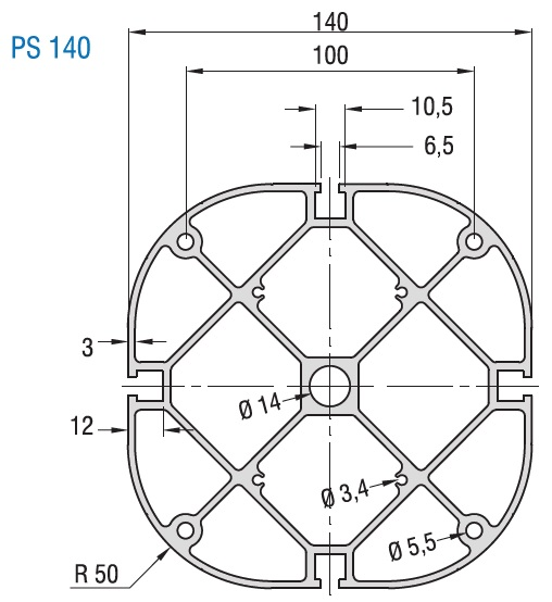 PS 140 Structural Aluminum Extrusion Profile Dimensions