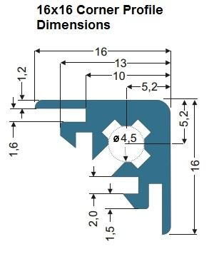 16x16mm Corner Profile Extrusion Dimensions