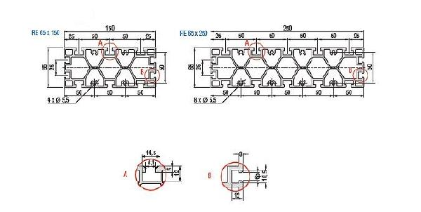 RE 65 Aluminum Extrusion Table Plate Dimensioned Drawing
