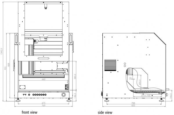 ICV CNC Gantry Dimensioned Drawing