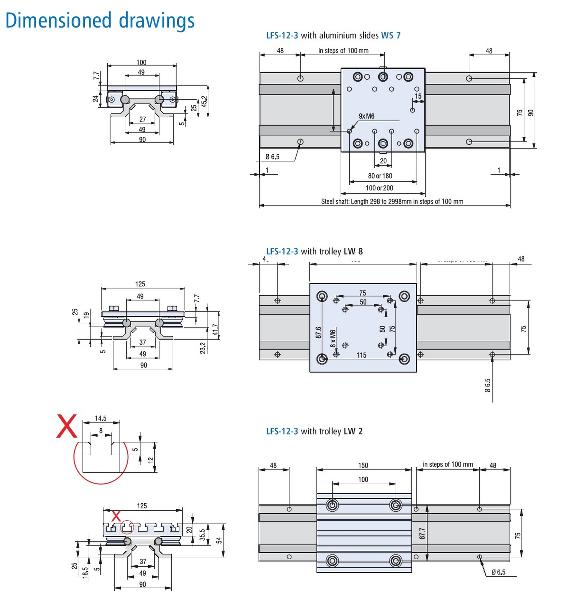 LFS 12-3 Wide Rail Dimension Drawing