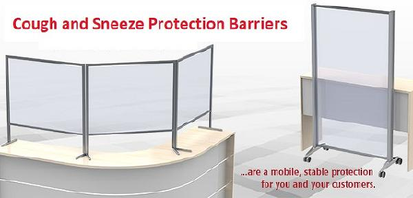 Tabletop and mobile floor cough and sneeze protection barriers