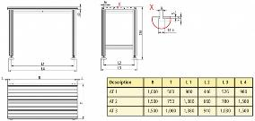 Dimensional Drawing of Workbench with T Slot Table Top