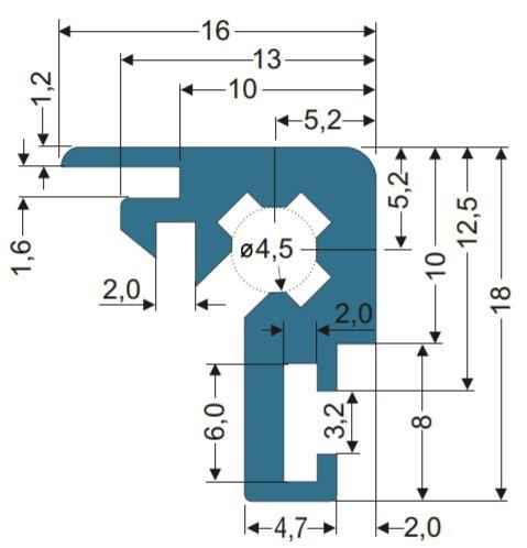 16x18mm Corner Extrusion Profile Cross Section
