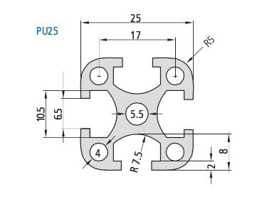 PU 25 Aluminum Profile Drawing