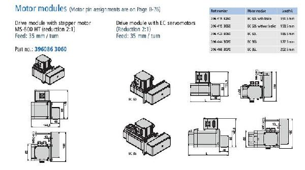 LEZ 2 belt actuator motor dimension drawing