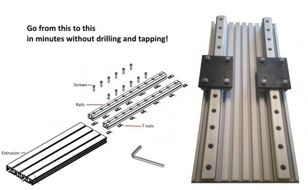 Mount Rails to table plates WITHOUT DRILLING AND TAPPING!
