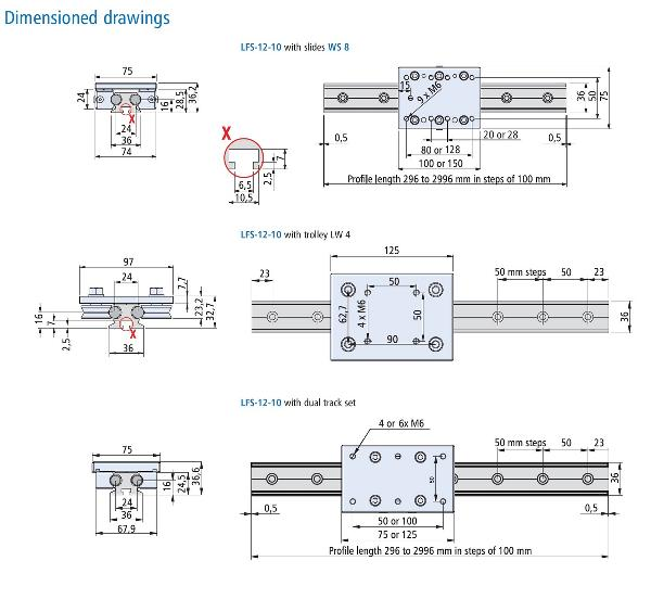 LFS 12-10 Rail/Bearing Dimensions