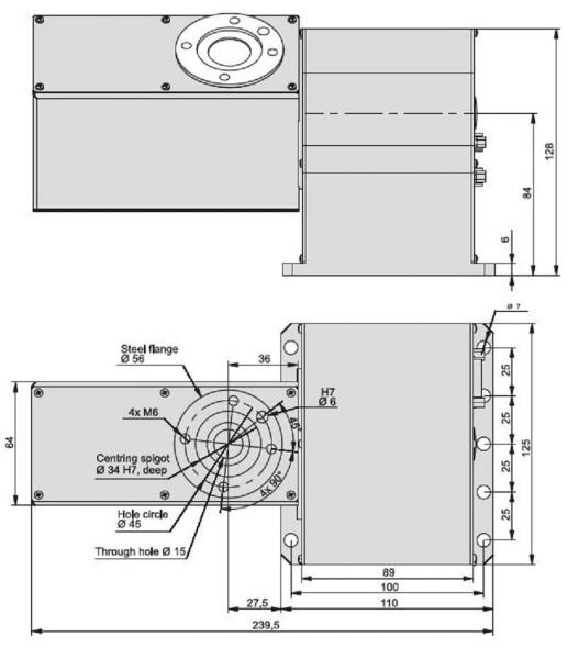 ZDS2030 Dual Axis Rotary Stage Dimensioned Drawing