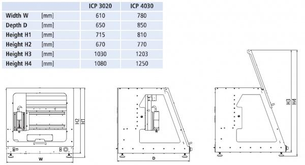 ICP CNC Gantry Dimensioned Drawing