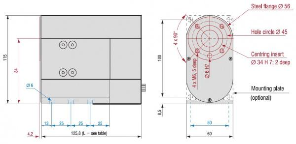 MD1 Mini Rotary Stage Dimensioned Drawing