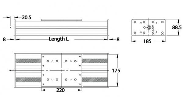 Dimensions of Standard Duty Ball Screw Slides