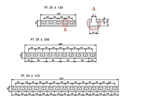 PT 25 Table Plate Extrusion Dimensions
